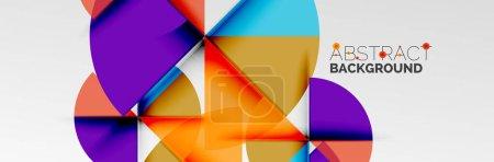 Foto de Círculos de color brillantes, formas redondas abstractas y composición de triángulos con efectos de sombra. Vector plantilla de diseño geométrico moderno - Imagen libre de derechos