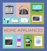 Electronic household appliances set of banners vector illustration Kitchen and home equipment for house Washing machine vacuum cleaner microwave oven kettle TV set iron