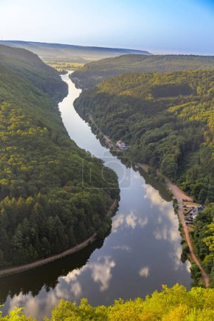 Photo for Unique landscape and landmark of the Saarland with a view to Saar river bend in Germany - Royalty Free Image