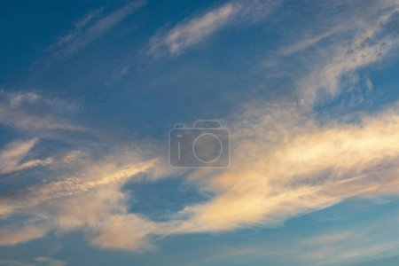 Photo for Sunrise sky with orange clouds and deep blue sky - Royalty Free Image