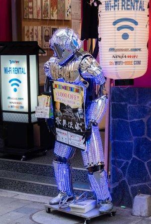 TOKYO, JAPAN - JUNE 30TH, 2018. Robotic theme business advertisement in Kabukicho, Shinjuku.