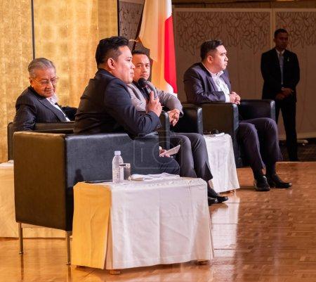 Photo pour Fukuoka, Japon - 5 août 2018. Premier ministre malaisien, Tun Mahathir Mohamad lors d'un forum à l'hôtel Nikko. - image libre de droit
