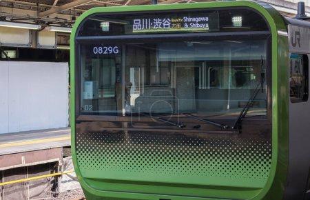 TOKYO, JAPAN - AUGUST 30TH, 2018. Japan Railway Yamanote commuter train arriving at Tokyo Railway Station platform.