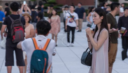 Photo for TOKYO, JAPAN - SEPTEMBER 8TH, 2018. People sightseeing at Tokyo Railway Station plaza - Royalty Free Image