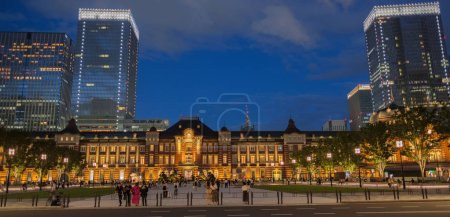 Photo for TOKYO, JAPAN - SEPTEMBER 8TH, 2018. Tokyo Railway Station plaza building illuminated at dusk. - Royalty Free Image