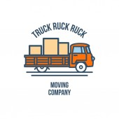 Truck with Cargo Moving Company Logo Vector