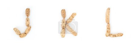 Photo for Alphabet letters JKL formed from peanut on white background - Royalty Free Image