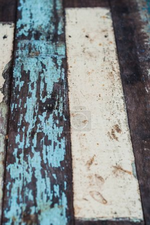 Aged colorful wooden plank floor