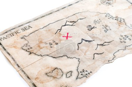 old map with treasure sign isolated on white background