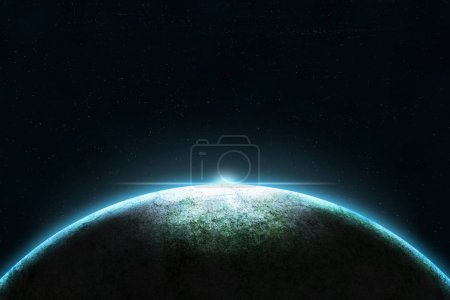 Planet Earth with sun on space background
