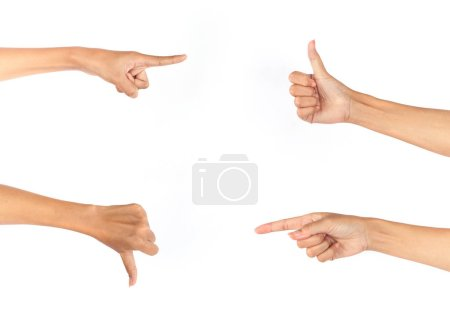 female hands showing different gestures isolated on white background