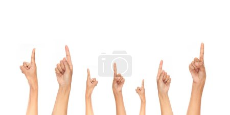 Photo for Female fingers pointing up isolated on white background - Royalty Free Image
