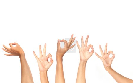 female hands showing OK gestures isolated on white background