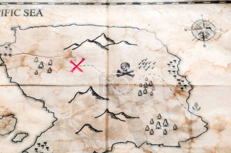 old map with treasure sign, trees, mountains and wind rose