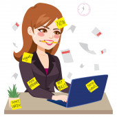 Businesswoman covered in adhesive sticky notes working hard biting pencil typing on laptop