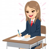 Young student girl in school uniform happy doing an easy exam sitting on desk writing