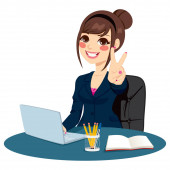Successful businesswoman making victory hand sign in front of his desk while working typing on laptop