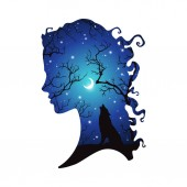Double exposure silhouette of beautiful woman with shadow of wolf in the night forest crescent moon and stars Sticker or tattoo design vector illustration Pagan totem wiccan familiar spirit art