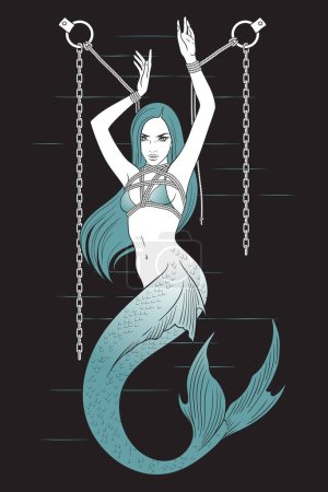 Beautiful mermaid knitted in fetish shibari bondage technique tattoo, sticker or print design vector illustration