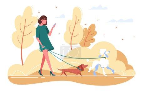 Illustration pour Une jeune femme marche avec un chien dans les bois. Concept girl en robe verte avec teckel, caniche, smartphone. Illustration vectorielle . - image libre de droit
