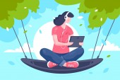 Flat young girl with tablet headphones at hammock on tree