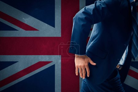 Businessman running away from Great Britain