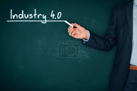 Businessman with Industry 4.0 heading, title page or background template for business presentation