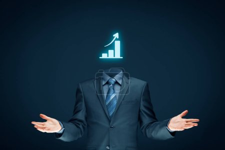 Businessman plan growth and increase of positive indicators in his business