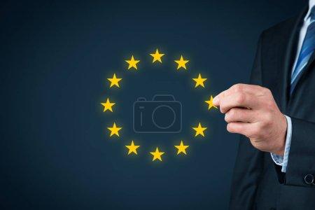 European union disintegration concept. Politician populist remove star from EU symbol