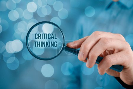 Critical thinking concept. Businessman is focused on critical thinking.