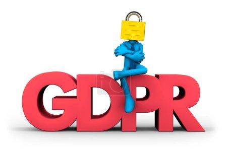 Photo pour RGPD (règlement général sur la protection des données) et concept de protection des données personnelles, illustration 3D . - image libre de droit
