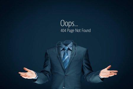 Photo pour Erreur Http 404 introuvable concept de modèle de page. Erreur page 404 message et homme d'affaires sans tête . - image libre de droit