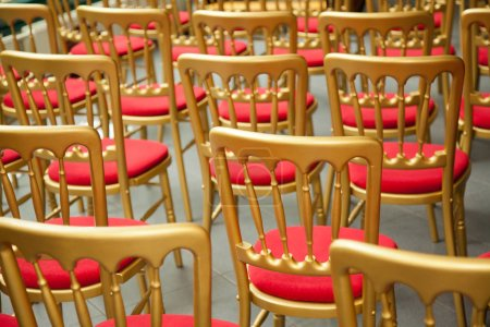 Photo for Conference hall with golden chairs - Royalty Free Image