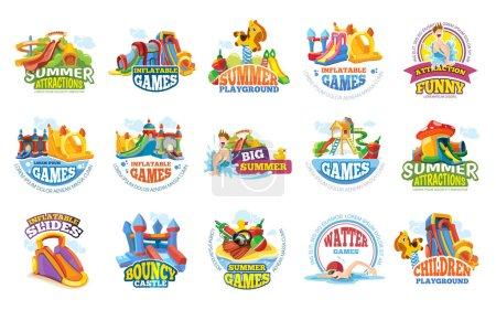 Illustration pour Étiquettes de terrain de jeu. aqua parc aquatique divertissements d'été jeux toboggan gonflable annoncer des badges colorés et des illustrations vectorielles logos - image libre de droit