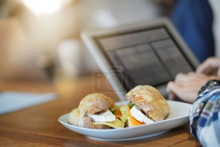 Photo for Close up of yummy sandwich in co working space - Royalty Free Image