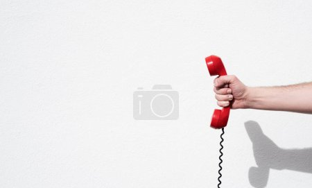 Shot of a landline telephone receiver with copy space for individual text
