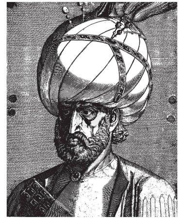 Ottoman Sultan Suleiman the Magnificent portrait, vintage engraving vector illustration