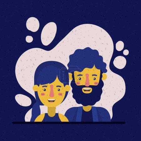 Illustration pour Jeune couple amoureux avatars personnages vectoriel illustration design - image libre de droit