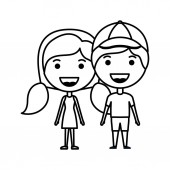 cartoon happy couple kawaii characters