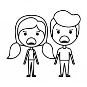 cartoon angry couple kawaii characters