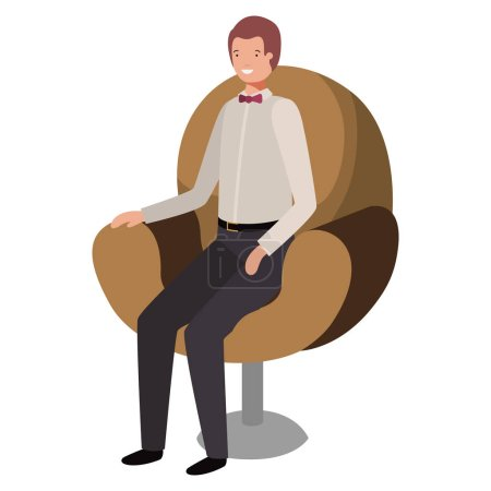 businessman sitting in chair avatar character