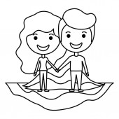cartoon happy couple on field kawaii characters