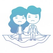 cartoon crying couple on field kawaii characters