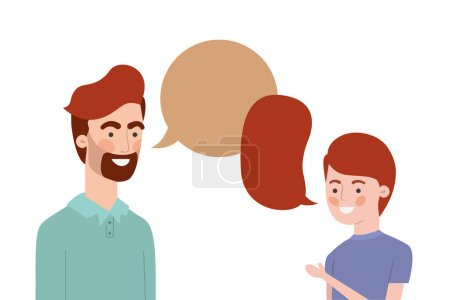 Photo for Father with son and speech bubble character vector illustration design - Royalty Free Image