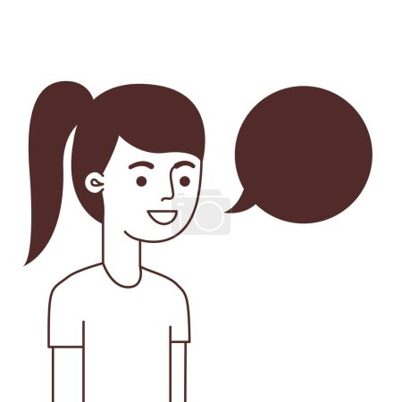Photo for Woman with speech bubble avatar character vector illustration design - Royalty Free Image