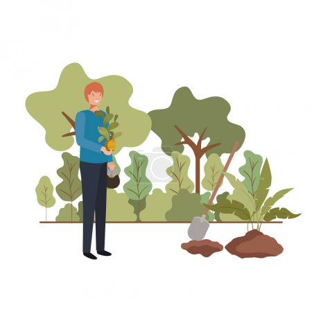 Photo for Man with tree to plant in landscape vector illustration design - Royalty Free Image