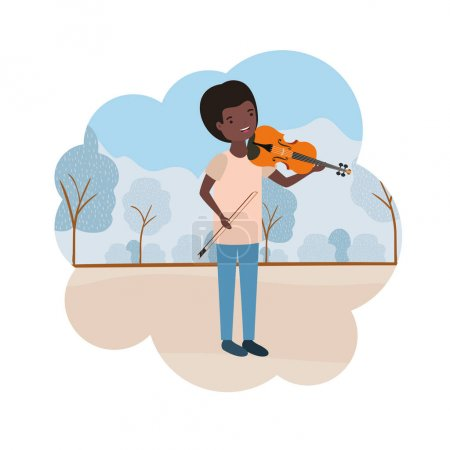 Photo for Man with violin in landscape avatar character vector illustration design - Royalty Free Image