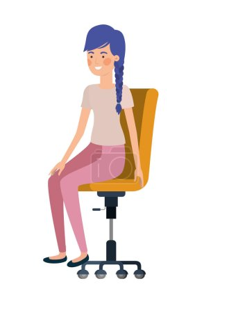 Photo for Woman with sitting in office chair avatar character vector illustration design - Royalty Free Image