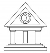 bank building with bitcoin money