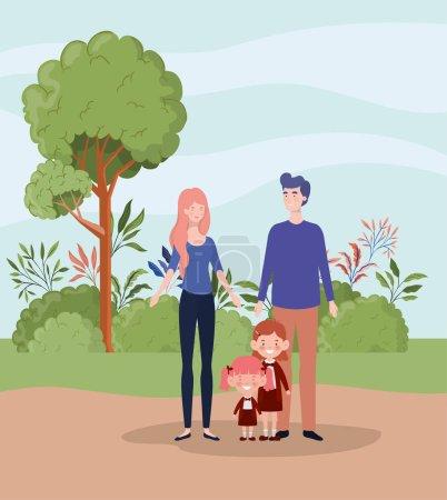 Illustration pour Professeur couple avec de petits élèves enfants dans le paysage vectoriel illustration design - image libre de droit